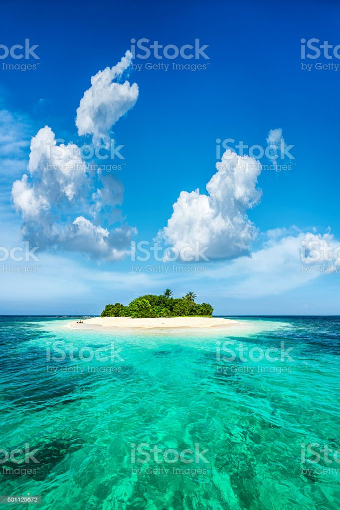 Exotic piece of paradise Lonely tropical island in the Caribbean stock photo