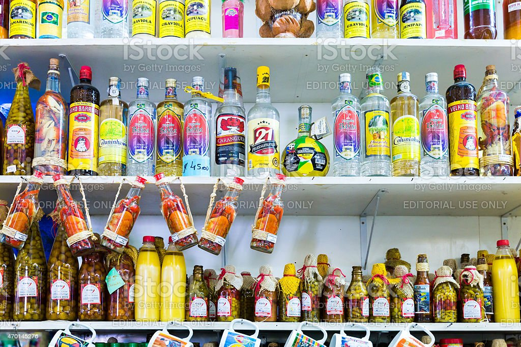 Exotic products at the traditional Mercado Modelo in Salvador, Bahia stock photo