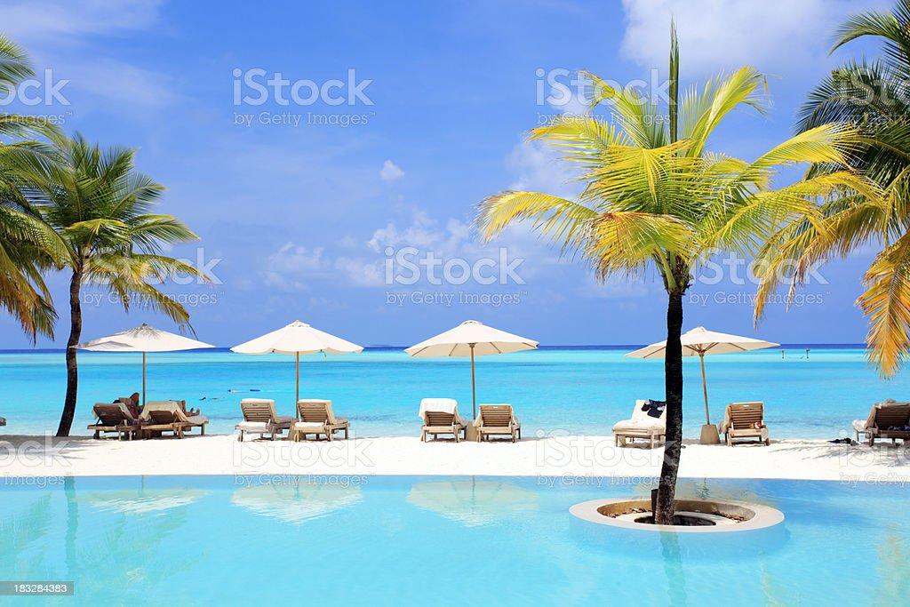 Exotic resort in Maldives. stock photo