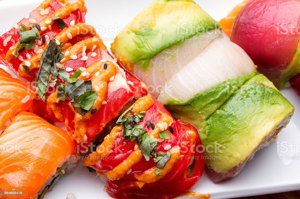 Exotic Rolls Of Sushi stock photo