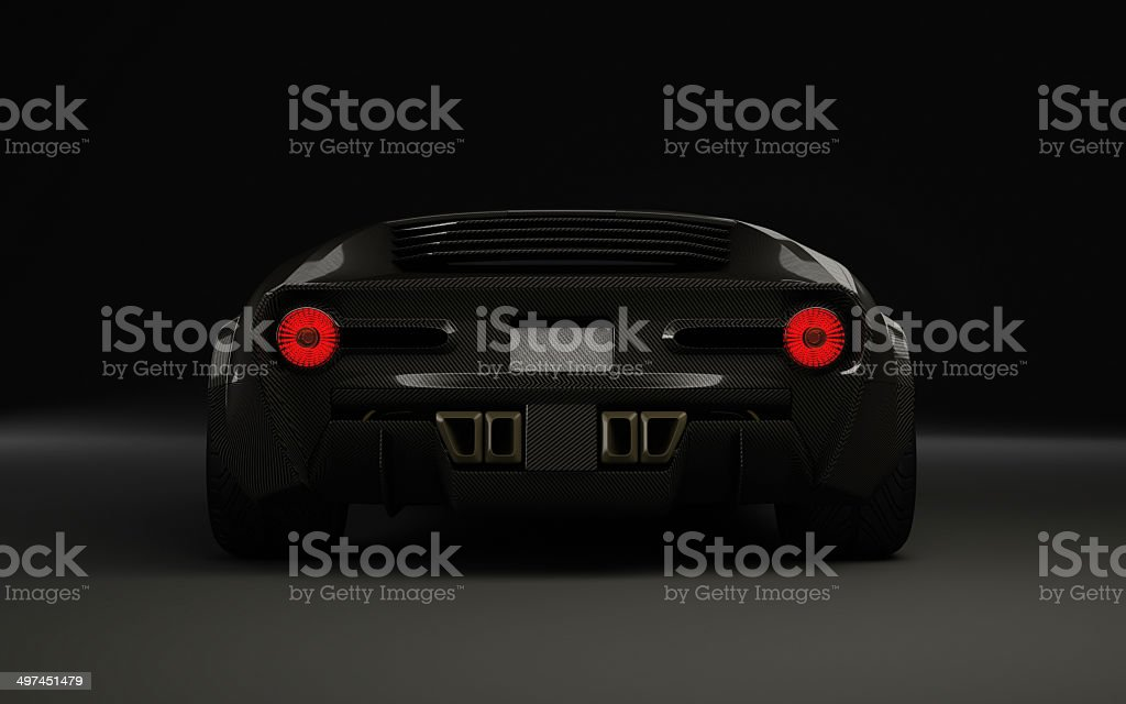 Exotic sportscar from behind royalty-free stock photo