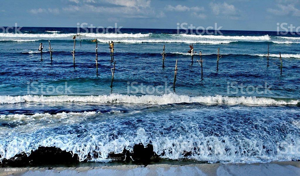 exotic tropic sea shore with surf in Sri Lanka stock photo