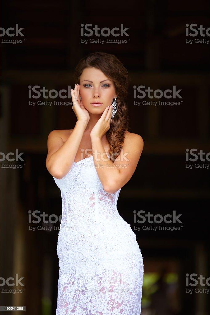 Exotic wedding - best bride ever! stock photo