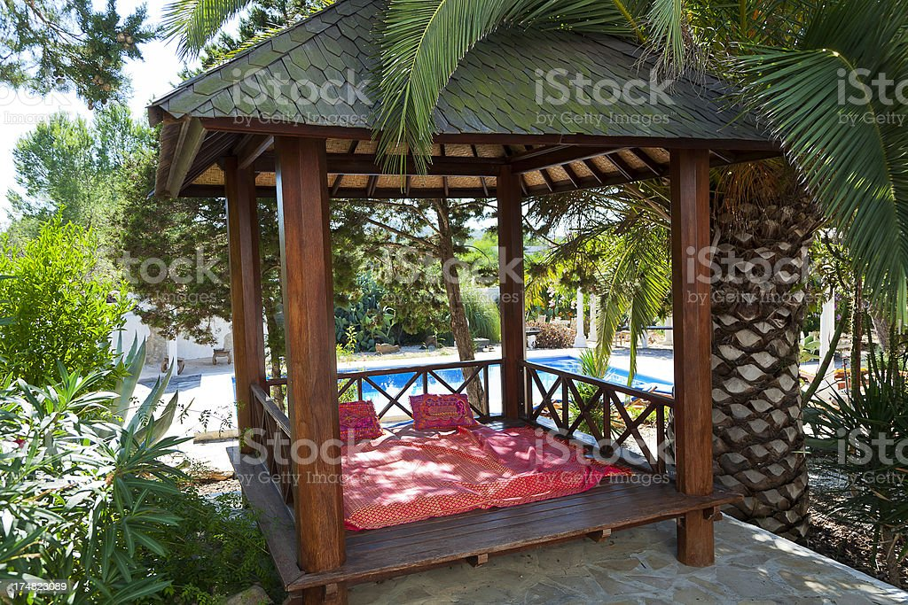 exotic wooden hut royalty-free stock photo