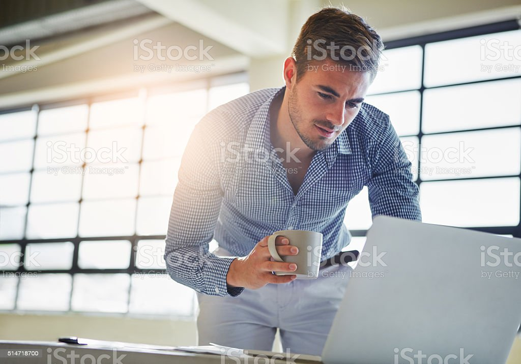 Expanding his potential business opportunities using modern technology stock photo