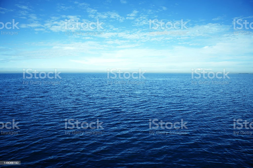 Expansive horizon view of the ocean stock photo