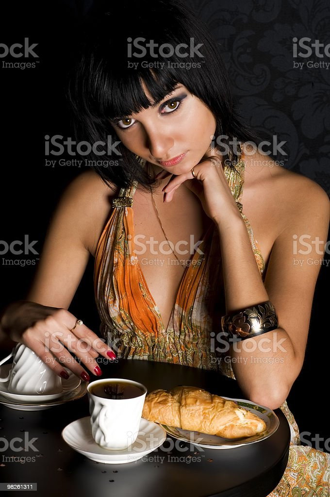 Expectation  in a cafe royalty-free stock photo