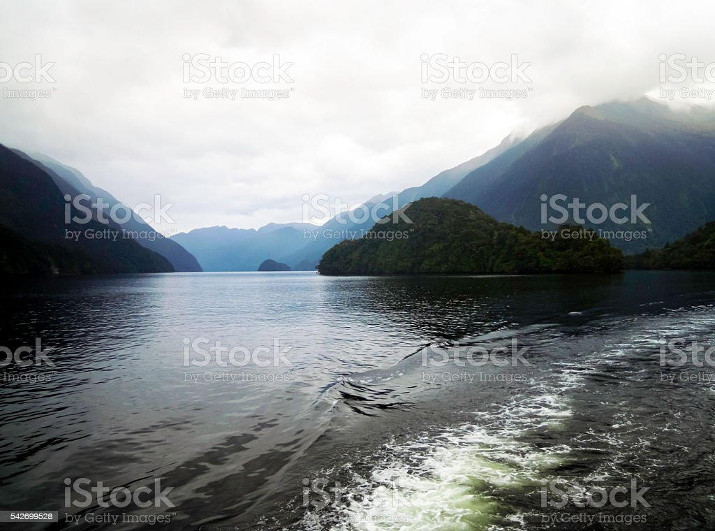 Expedition at Doubtful Sound, New Zealand stock photo