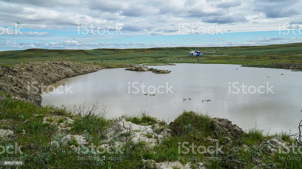 YAMAL PENINSULA, RUSSIA - JUNE 18, 2015: Expedition to the stock photo