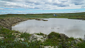 YAMAL PENINSULA, RUSSIA - JUNE 18, 2015: Expedition to the