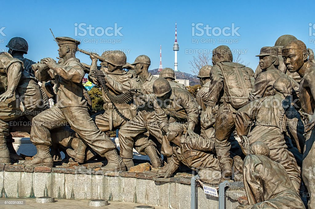 Expeditionary Forces Sculpture at The War Memorial of Korea stock photo