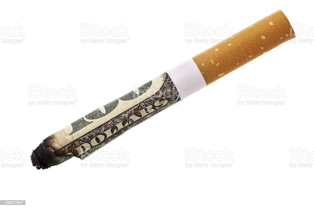 Expenditure for smoking stock photo