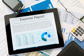Expense report on a digital tablet
