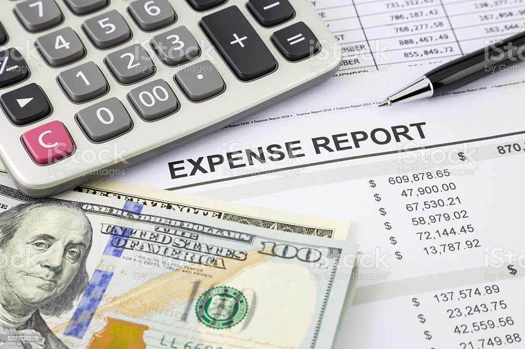Expense Report with money for payment stock photo