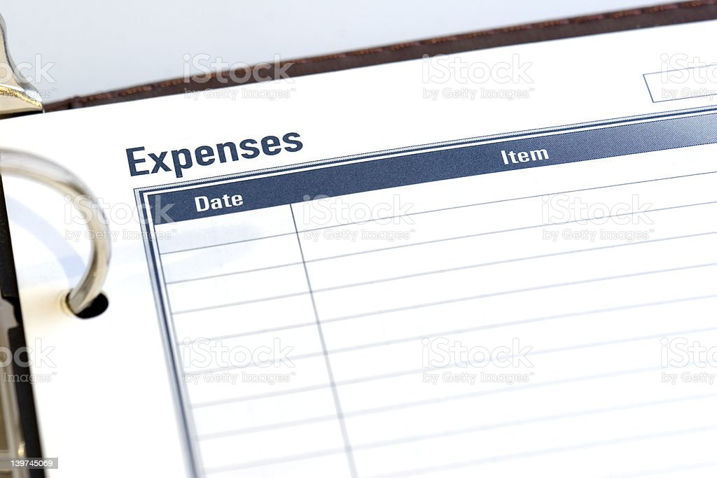 Expense Sheet stock photo