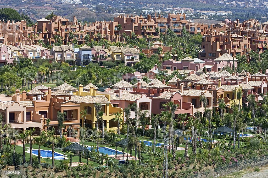 Expensive apartments and townhouses in Nueva Andalucia, Spain royalty-free stock photo