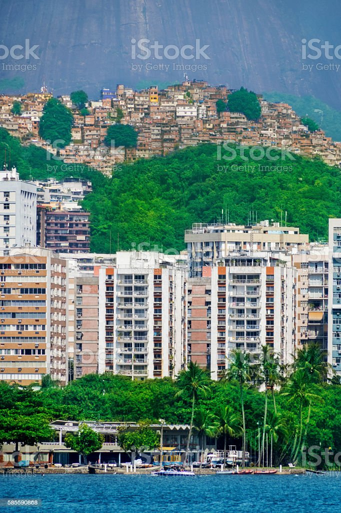 Expensive buildings in Leblon district and Rocinha Favela stock photo