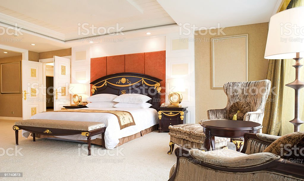 Expensive design of a bedroom in a luxury hotel royalty-free stock photo