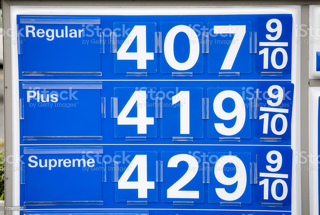 Expensive Gas Four Dollars a Gallon royalty-free stock photo