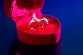 expensive gold earrings in red box isolated.
