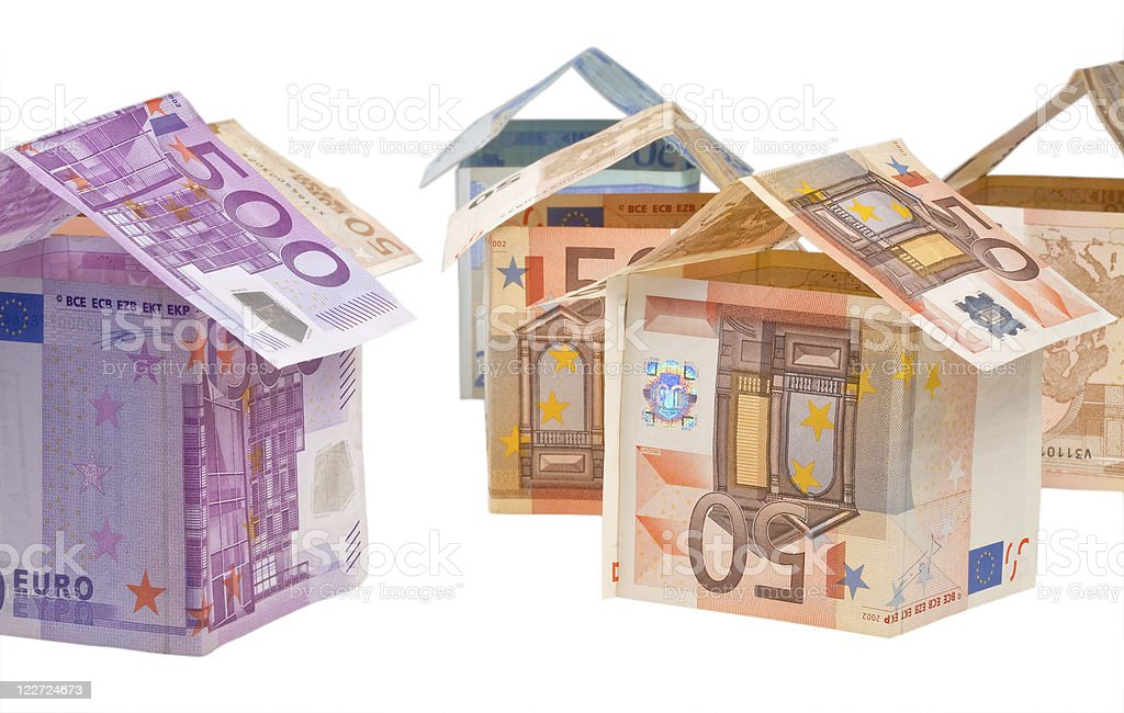 expensive houses from euro banknotes royalty-free stock photo