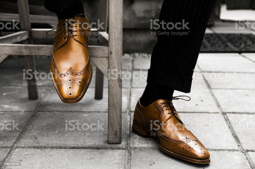 Expensive Man shoes | wedding details stock photo
