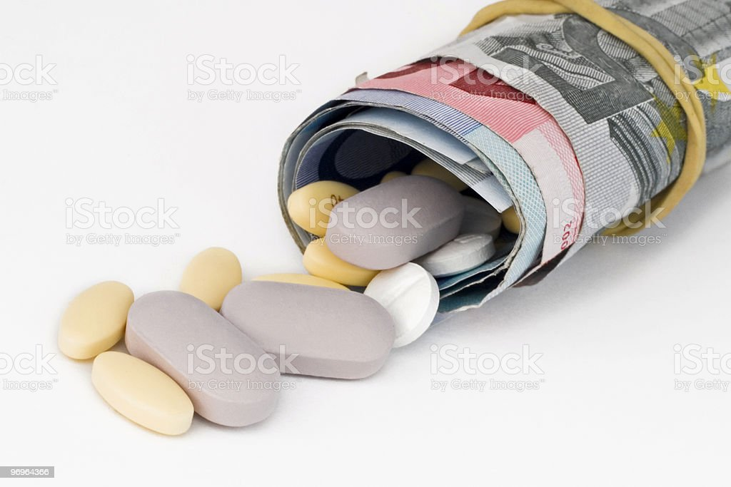 Expensive Medicine with euros royalty-free stock photo