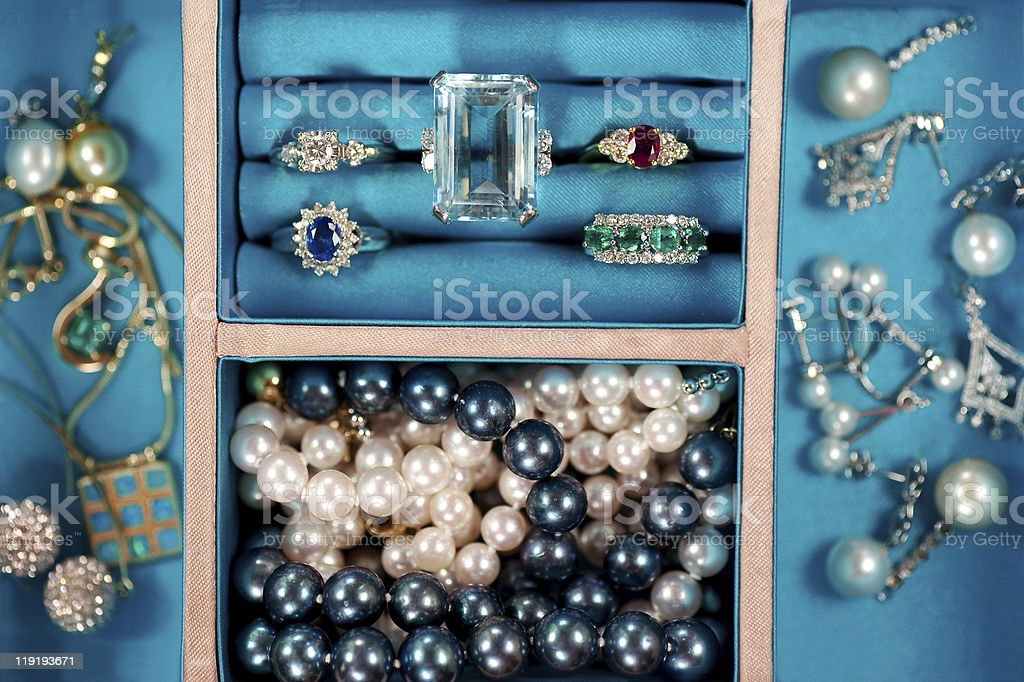 expensive pieces of precious gemstone jewelry stock photo