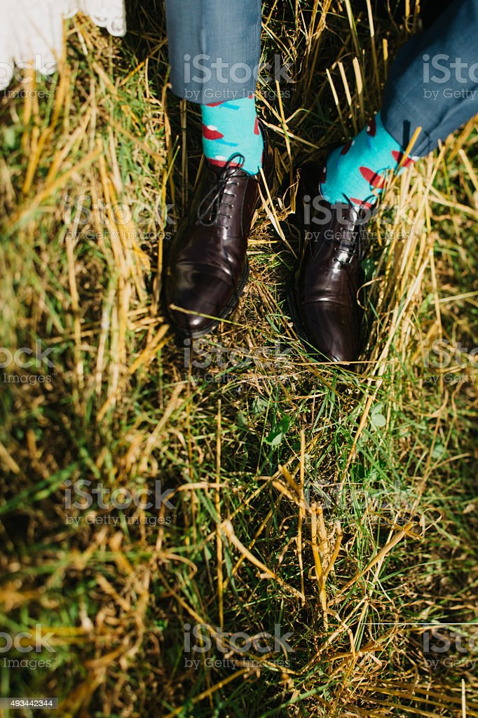 expensive shoes on a grass stock photo