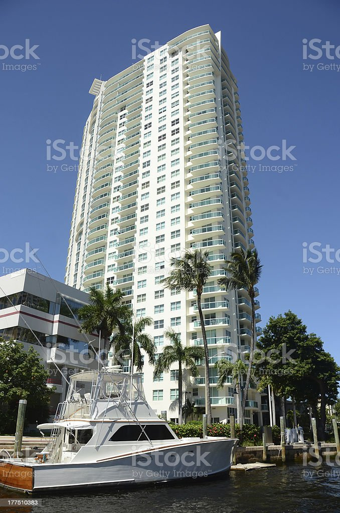 Expensive waterfront apartments royalty-free stock photo