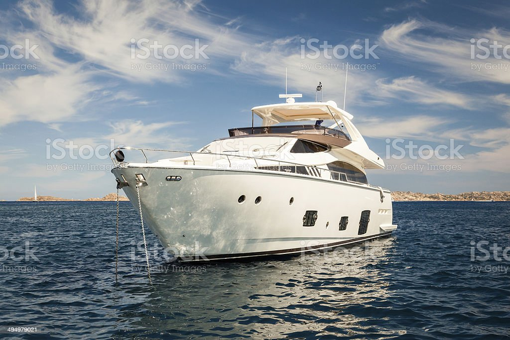 Expensive White Yacht Anchored stock photo