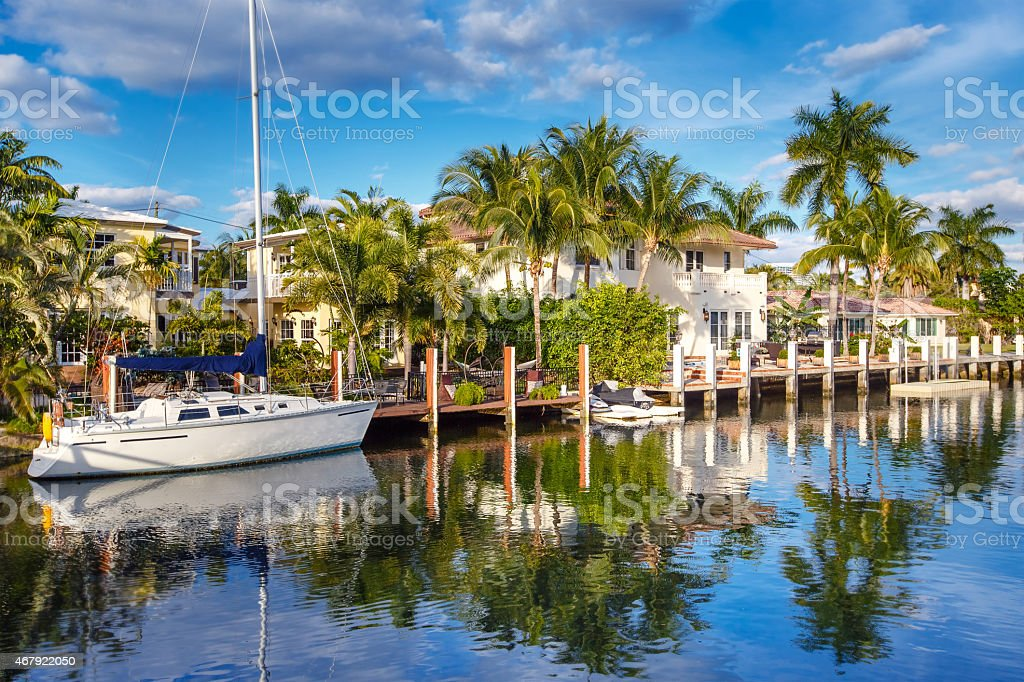 Expensive yacht and homes in Fort Lauderdale stock photo