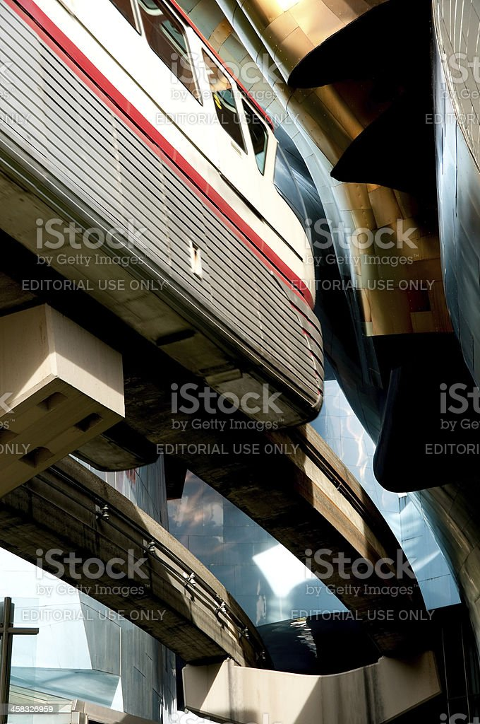 Experience Music Project and Monorail royalty-free stock photo