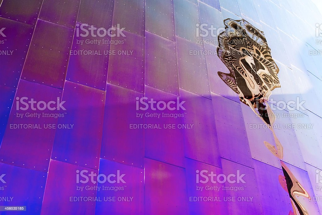 Experience Music Project wall reflecting the Space Needle stock photo