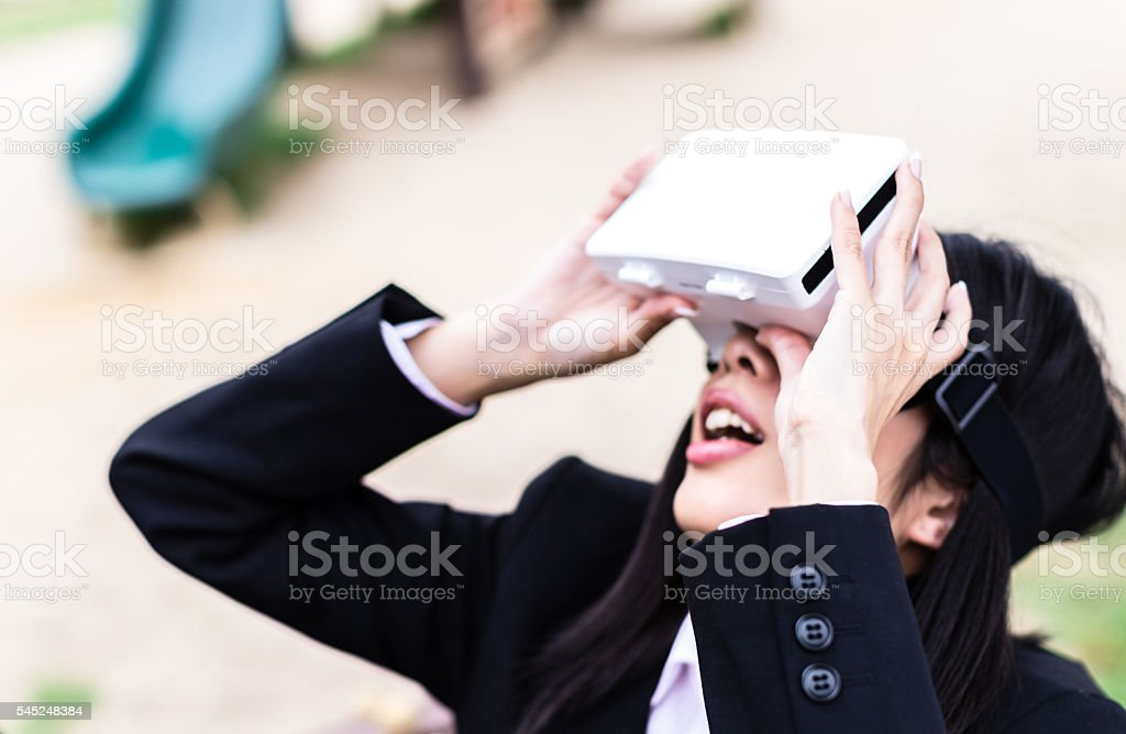 Experiencing the new horizon into the virtual reality world. stock photo