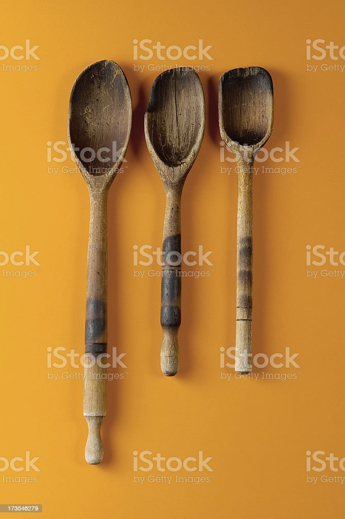 Experient wooden spoons  front royalty-free stock photo