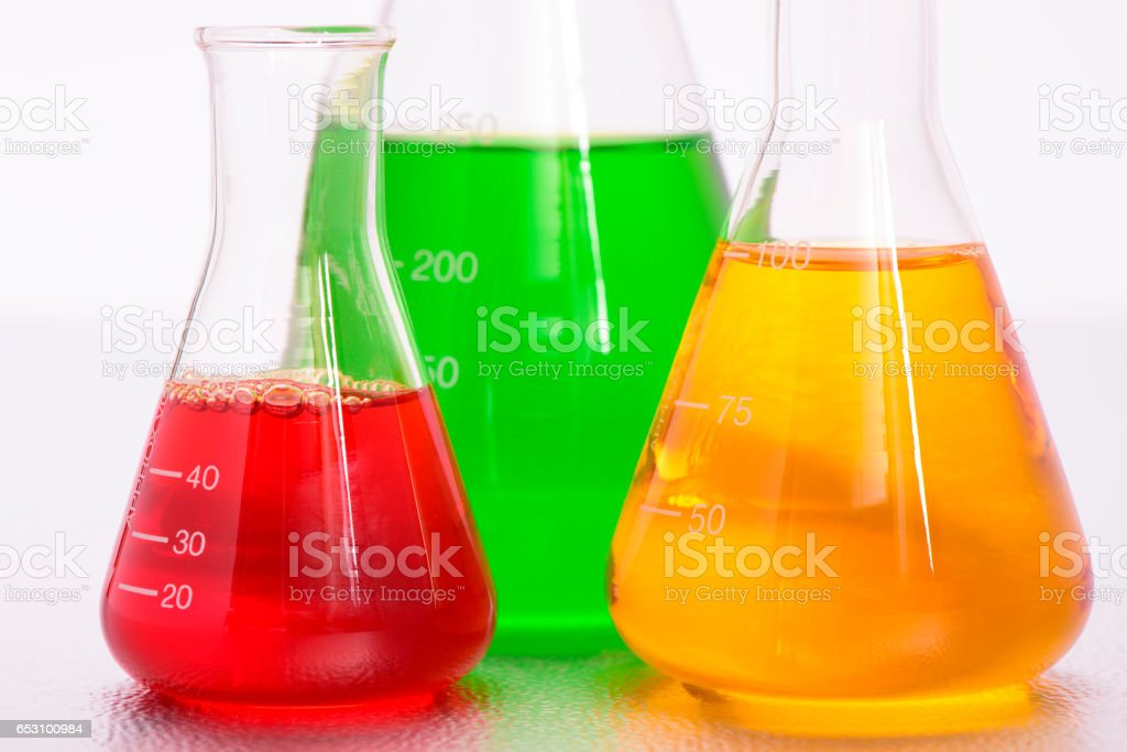 experiment in chemical laboratory stock photo
