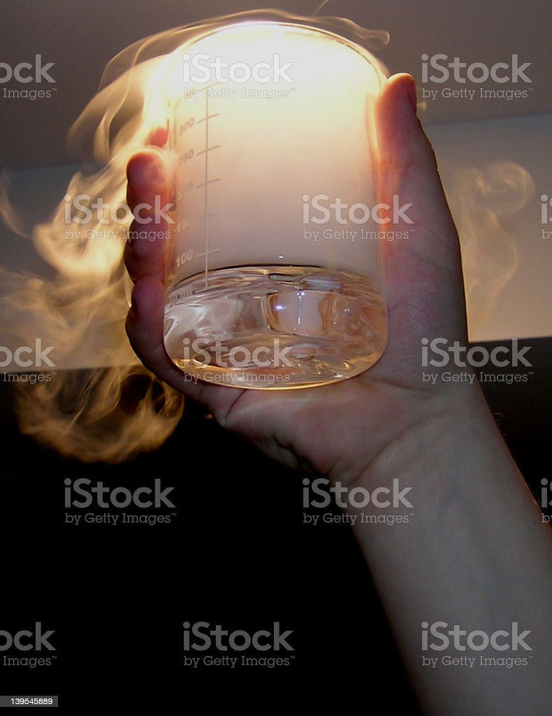 Experimental Beaker with Dry Ice Cloud royalty-free stock photo