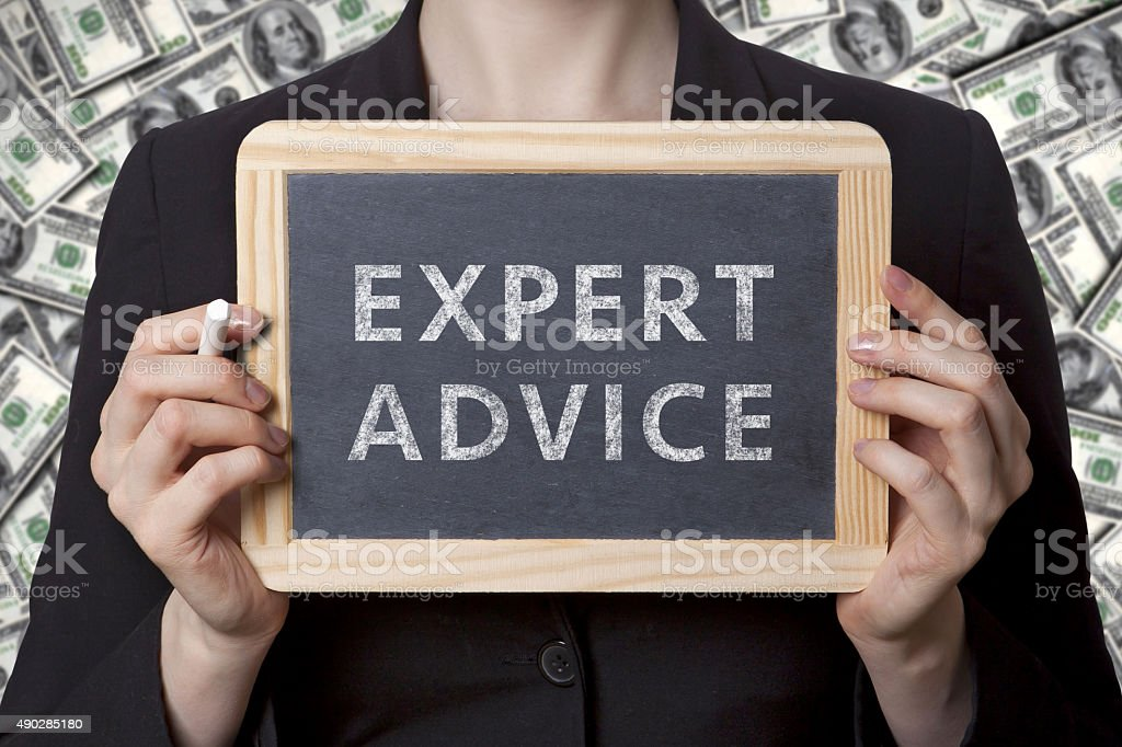 expert advice black board stock photo