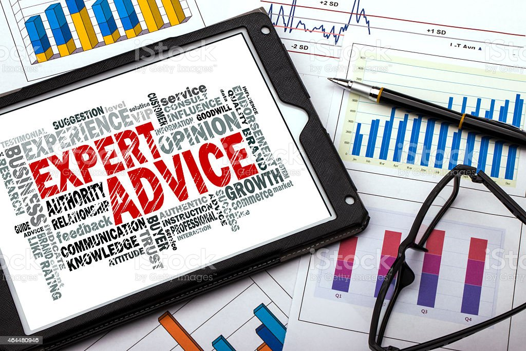 expert advice word cloud stock photo