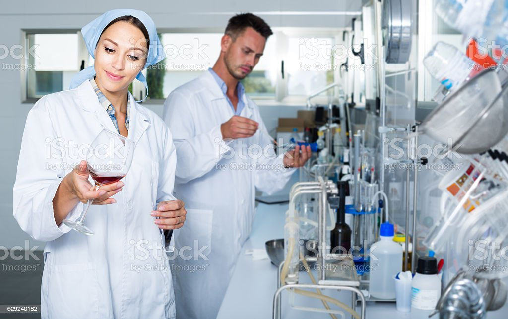 Expert checking quality of wine in chemistry lab stock photo