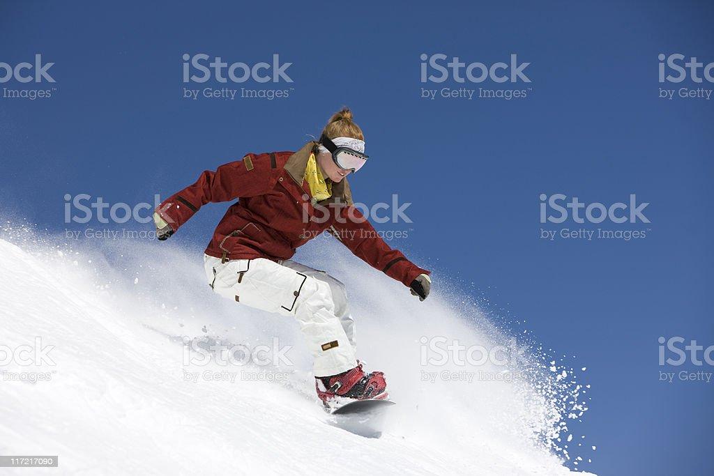 Expert Female Snowboarder royalty-free stock photo