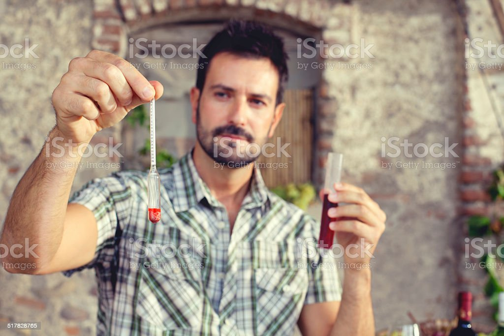 expert oenology measuring the percentage of sugar of the wine stock photo