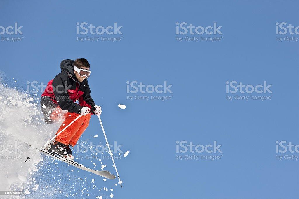 Expert Skier Flying Over Ski Slope royalty-free stock photo
