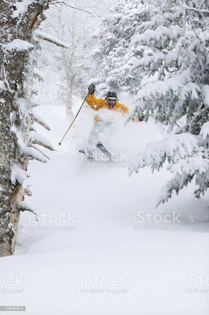 Expert skier skiing powder snow in Stowe, Vermont, USA stock photo