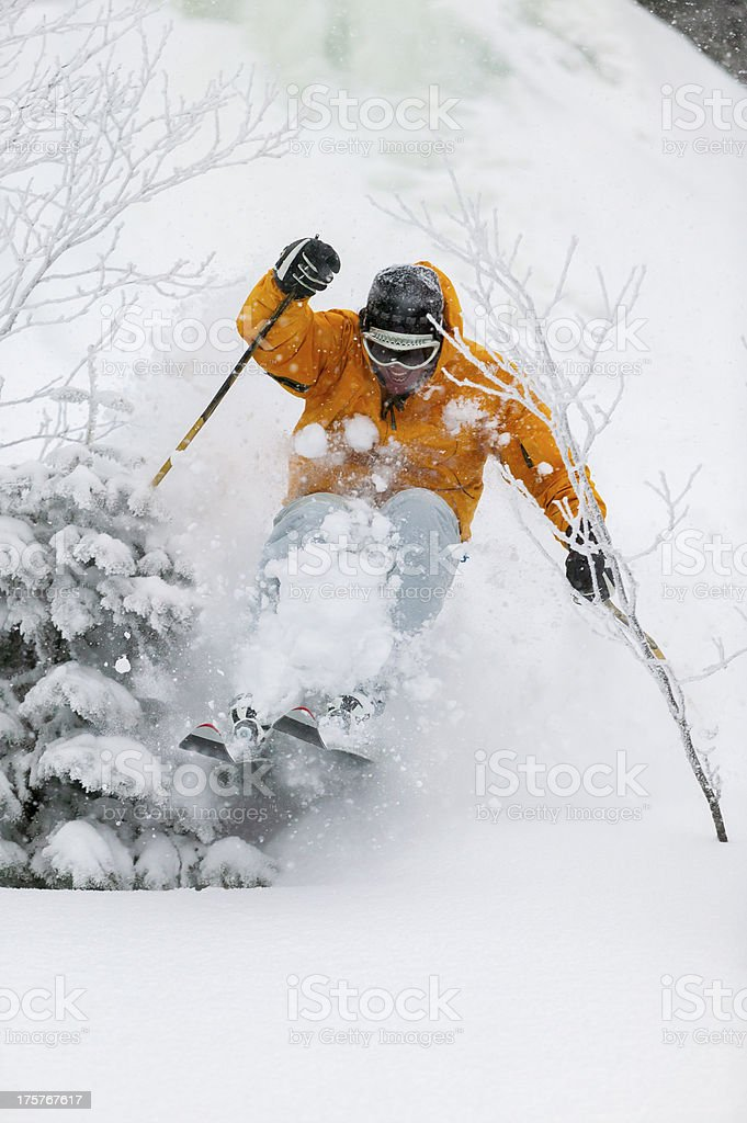 Expert skier skiing powder snow in Stowe, Vermont, USA stock photo