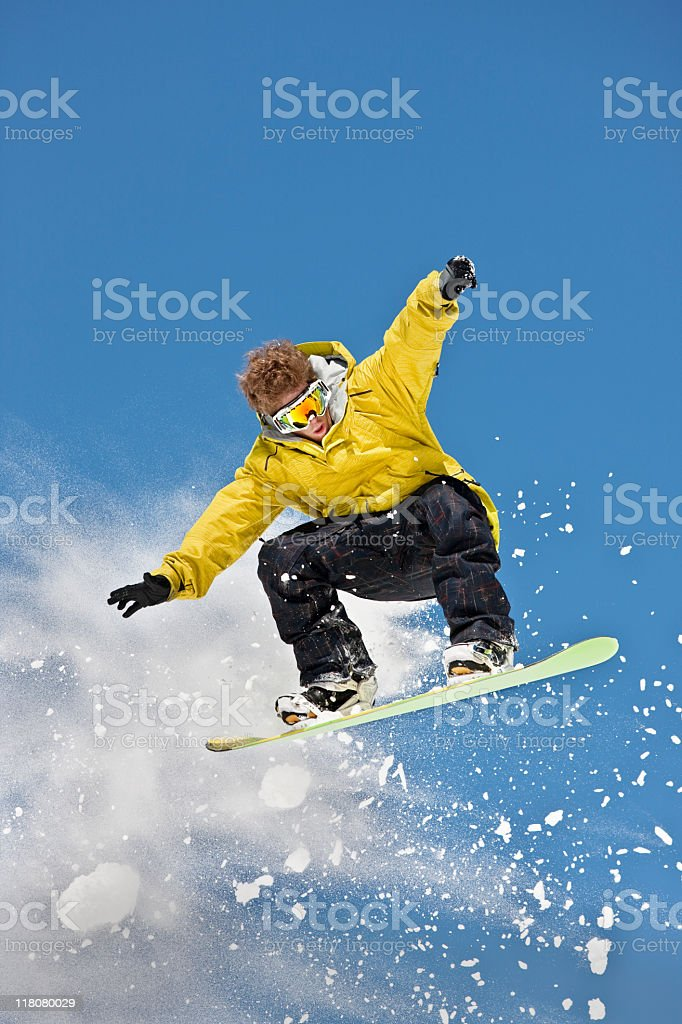 Expert Snowboarder In Mid-Air royalty-free stock photo