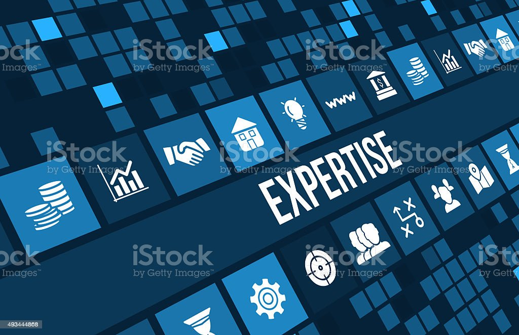 Expertise concept image with business icons and copyspace stock photo