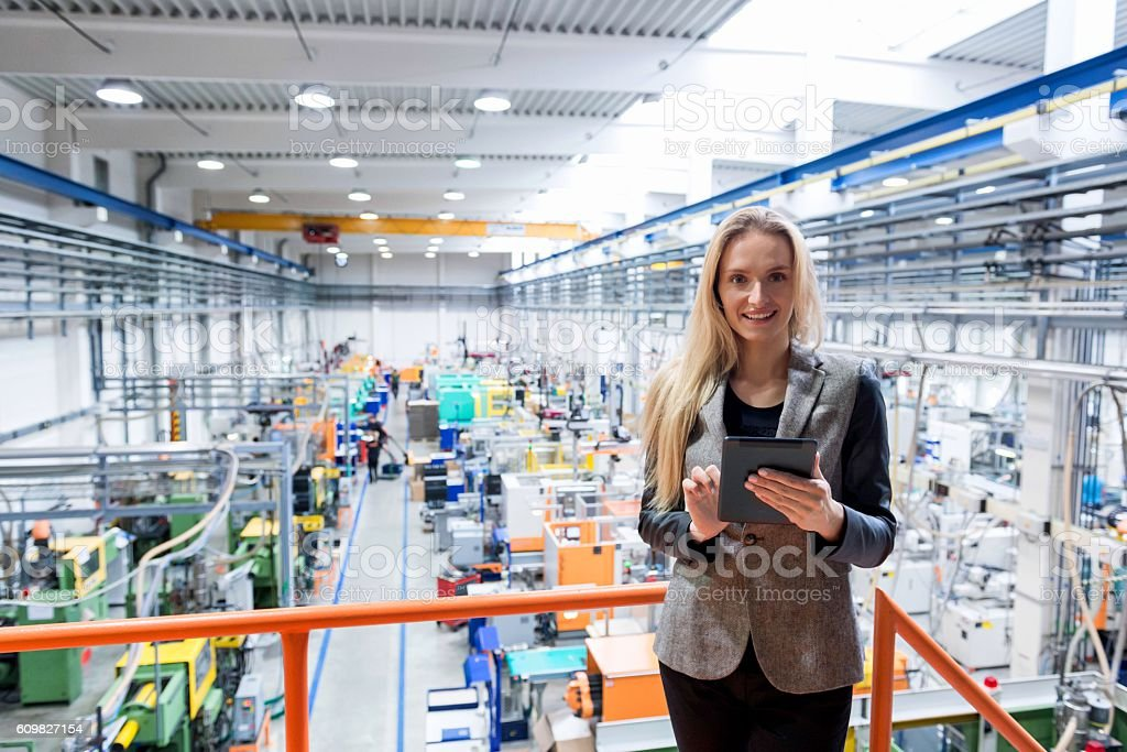 Expertise in modern factory stock photo