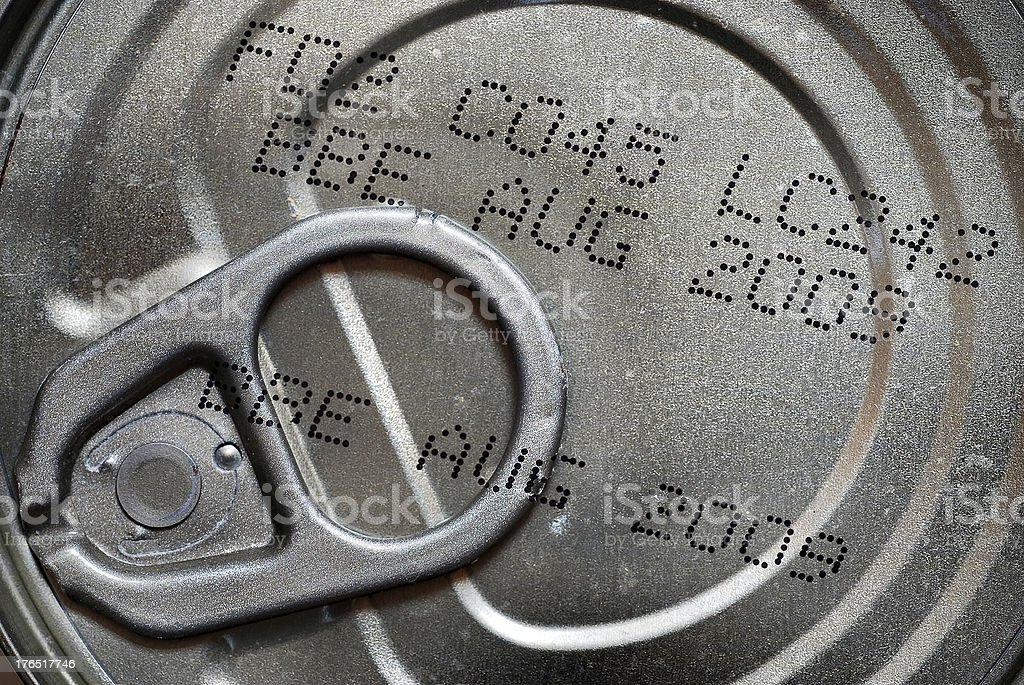 Expired tuna can close up stock photo
